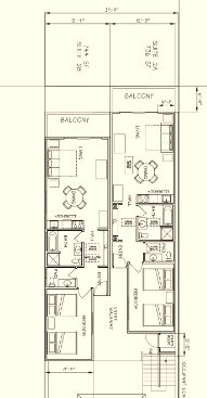 Floor Plan for Bayfront Condo with Amazing Views!  Located on the Embarcadero in Private Complex!
